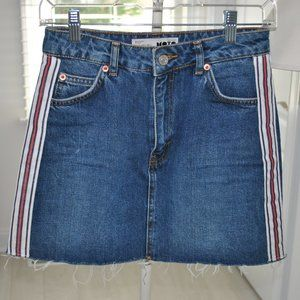 TopShop Denim Skirt with Side Stripes